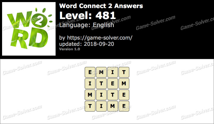 Word Connect 2 Level 481 Answers