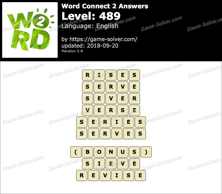 Word Connect 2 Level 489 Answers