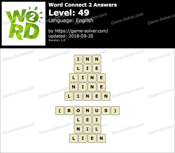 Word Connect 2 Level 49 Answers