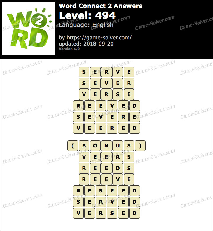 Word Connect 2 Level 494 Answers