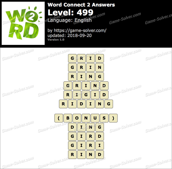 Word Connect 2 Level 499 Answers
