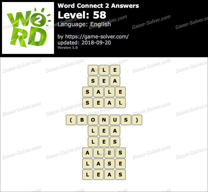 Word Connect 2 Level 58 Answers