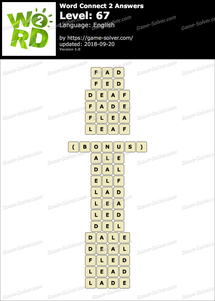 Word Connect 2 Level 67 Answers
