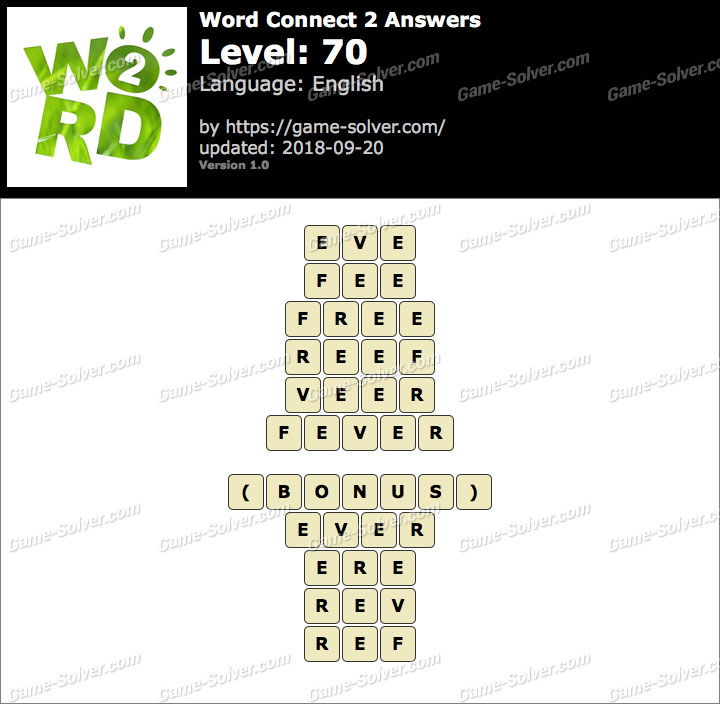 Word Connect 2 Level 70 Answers