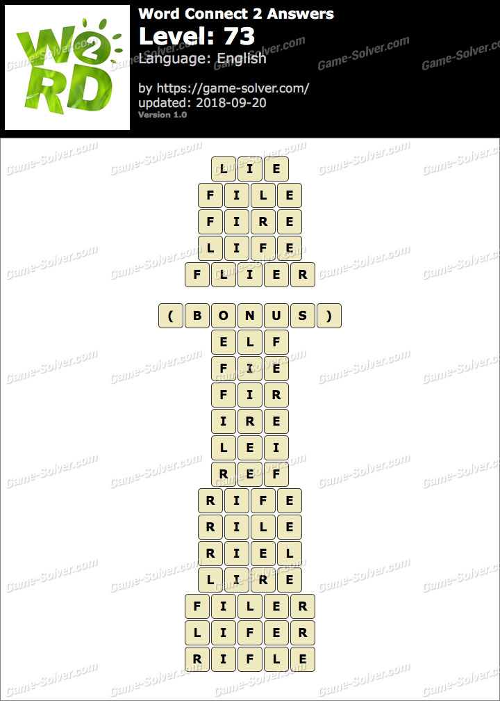 Word Connect 2 Level 73 Answers