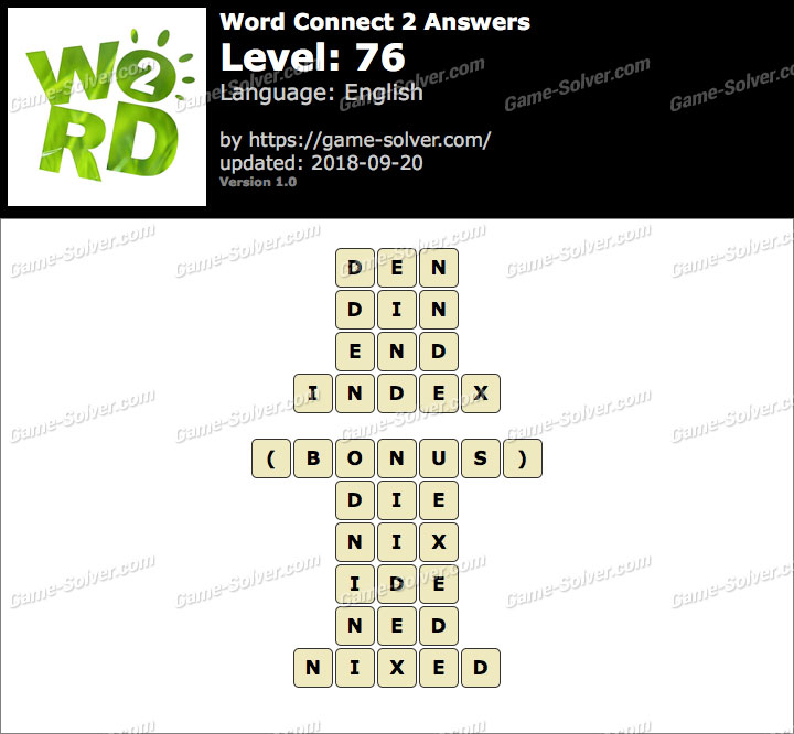 Word Connect 2 Level 76 Answers