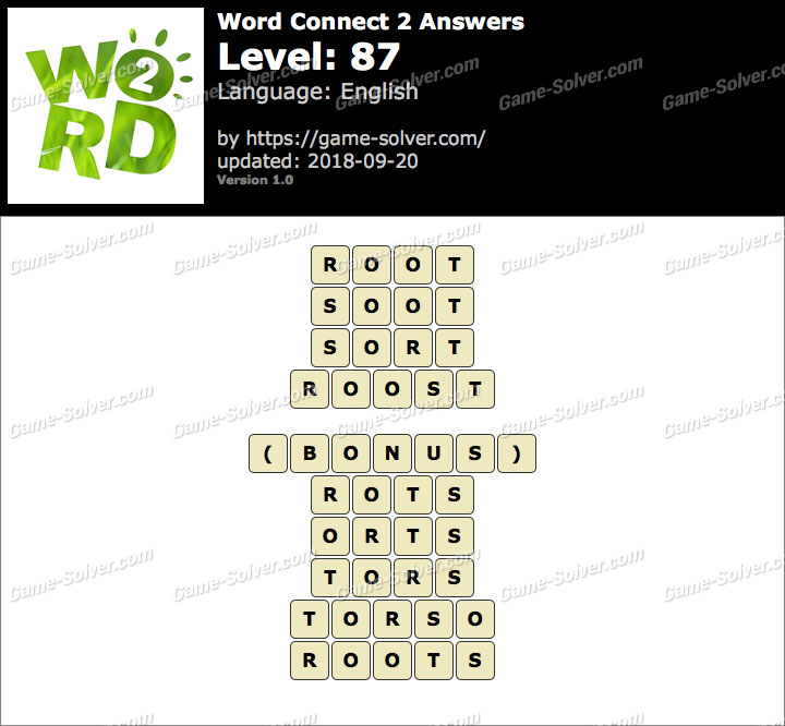 Word Connect 2 Level 87 Answers