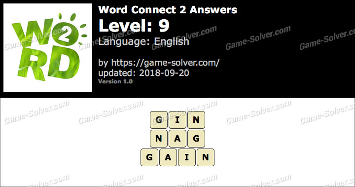 Word Connect 2 Level 9 Answers