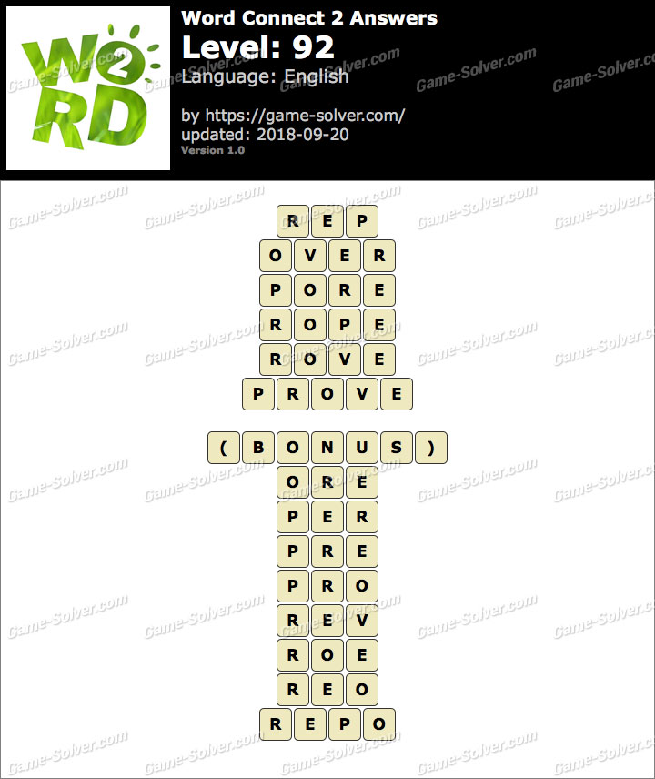 Word Connect 2 Level 92 Answers