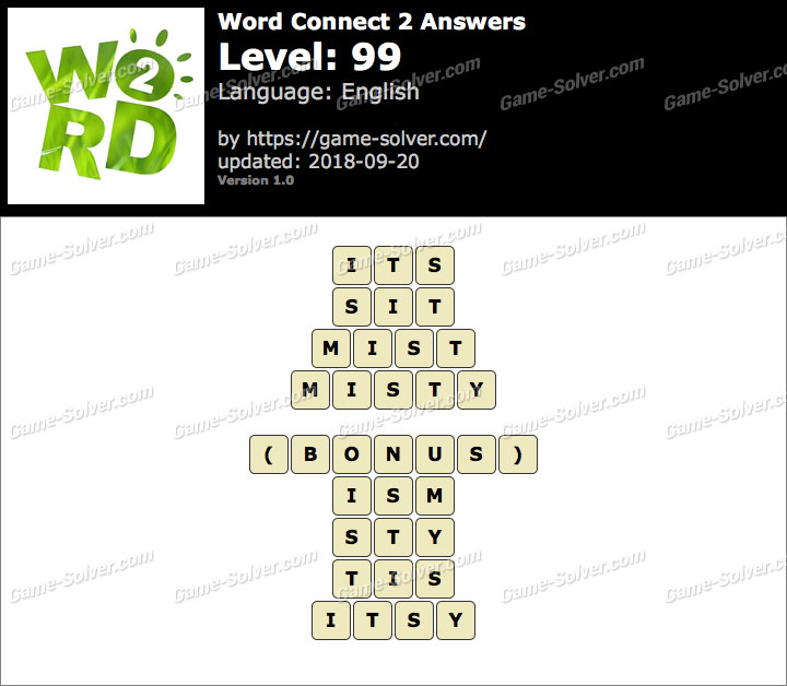 Word Connect 2 Level 99 Answers