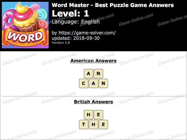 Word Master-Best Puzzle Game Level 1 Answers