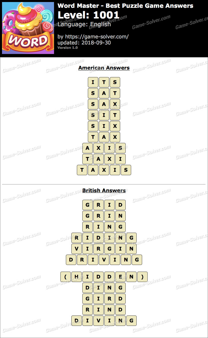 Word Master-Best Puzzle Game Level 1001 Answers