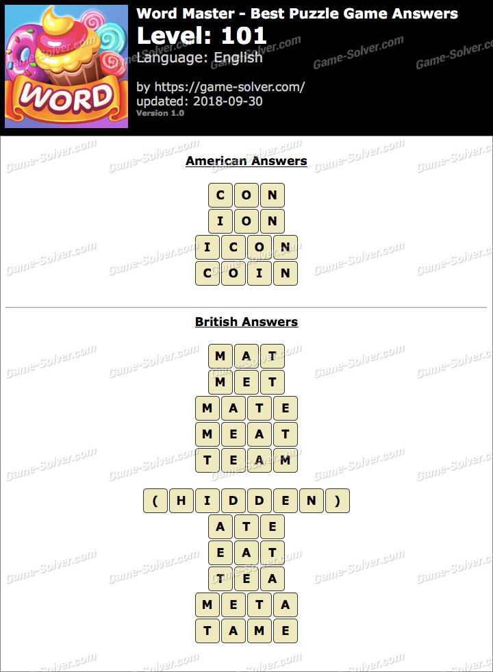 Word Master-Best Puzzle Game Level 101 Answers