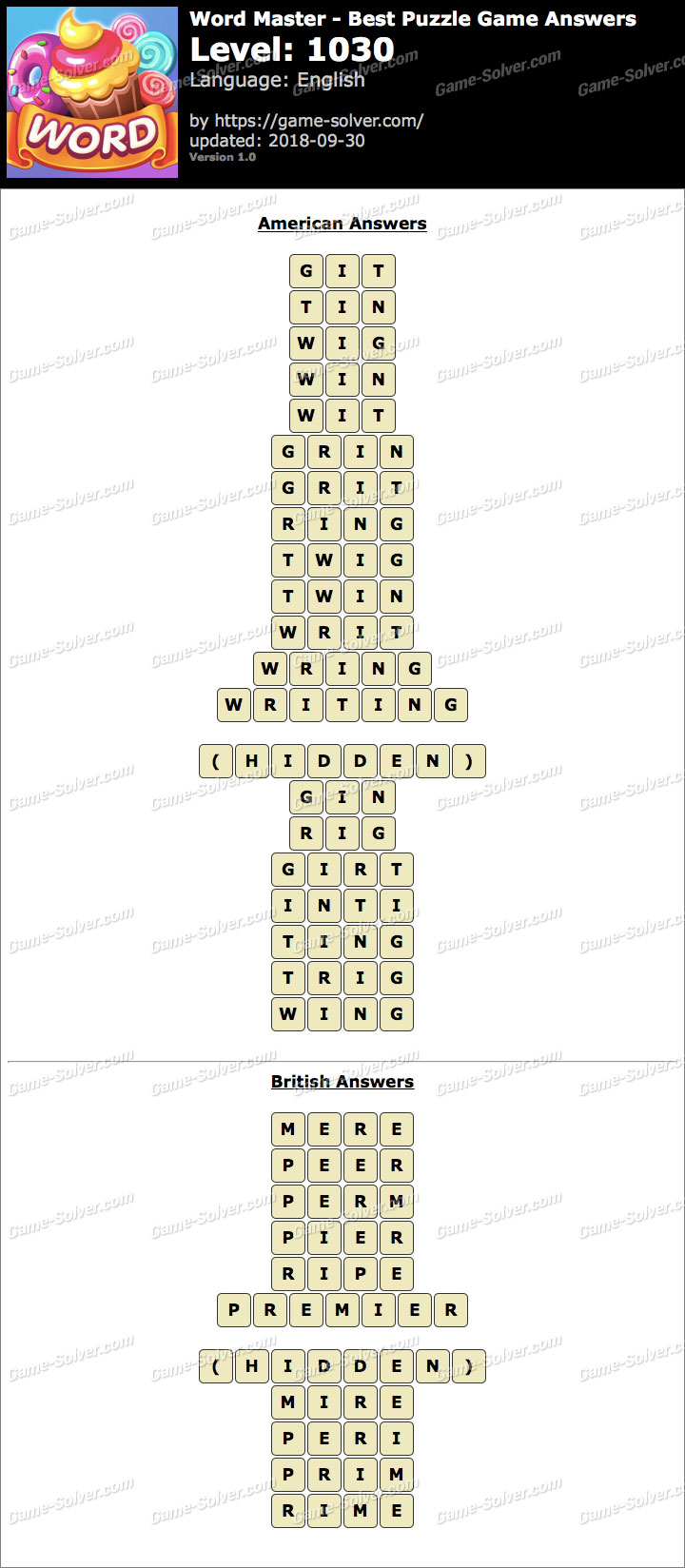 Word Master-Best Puzzle Game Level 1030 Answers