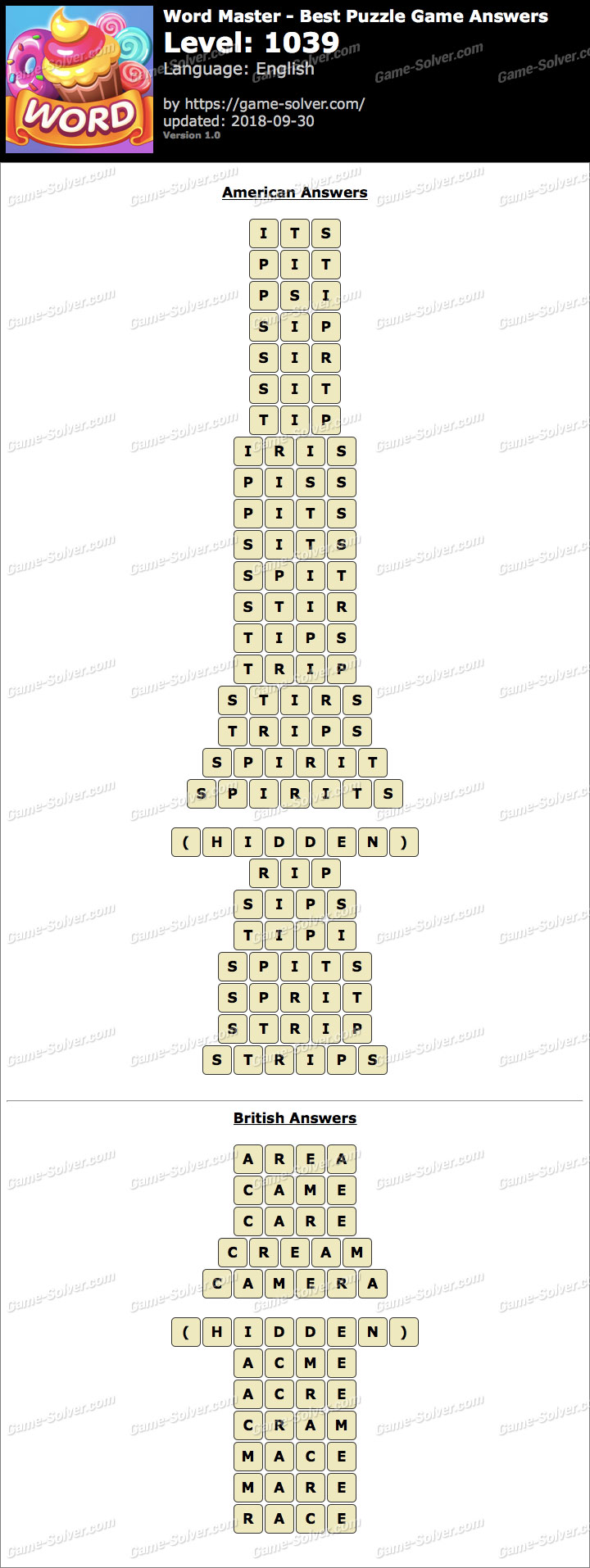 Word Master-Best Puzzle Game Level 1039 Answers