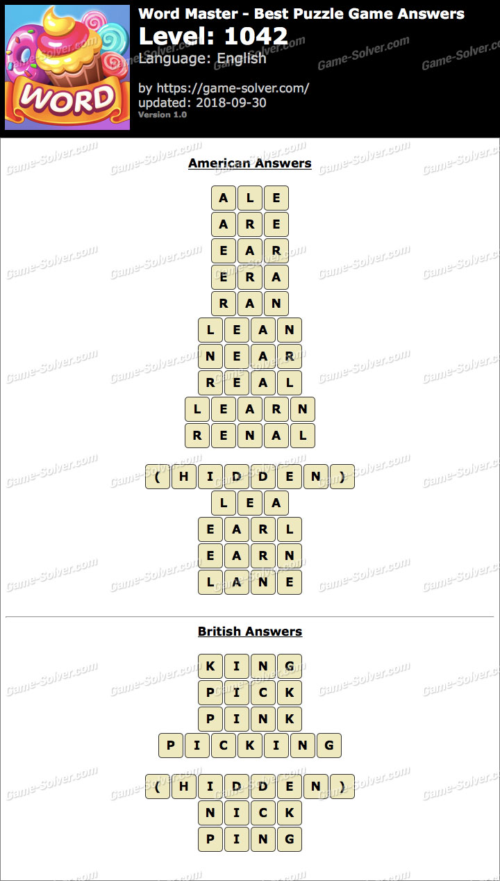 Word Master-Best Puzzle Game Level 1042 Answers