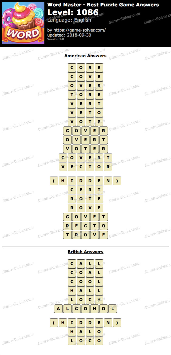 Word Master-Best Puzzle Game Level 1086 Answers
