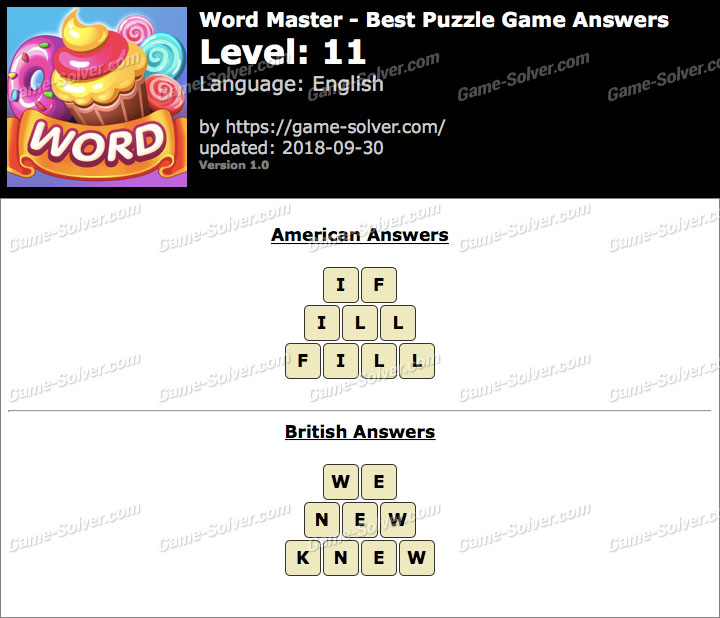 Word Master-Best Puzzle Game Level 11 Answers