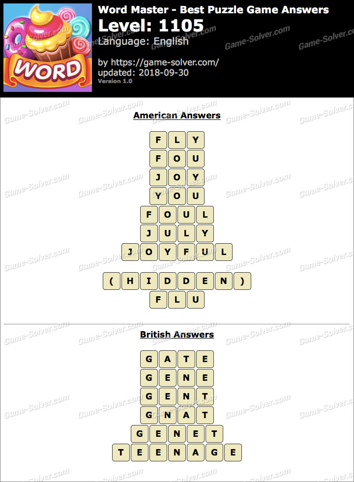 Word Master-Best Puzzle Game Level 1105 Answers