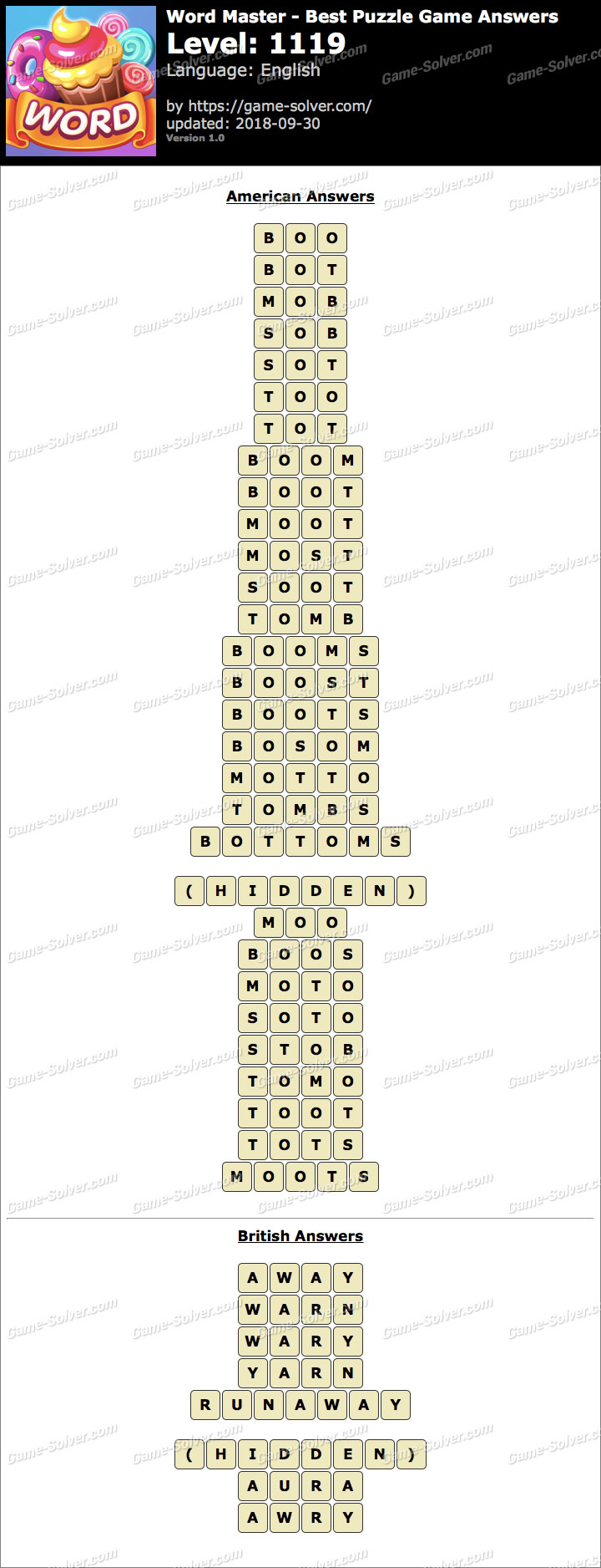 Word Master-Best Puzzle Game Level 1119 Answers