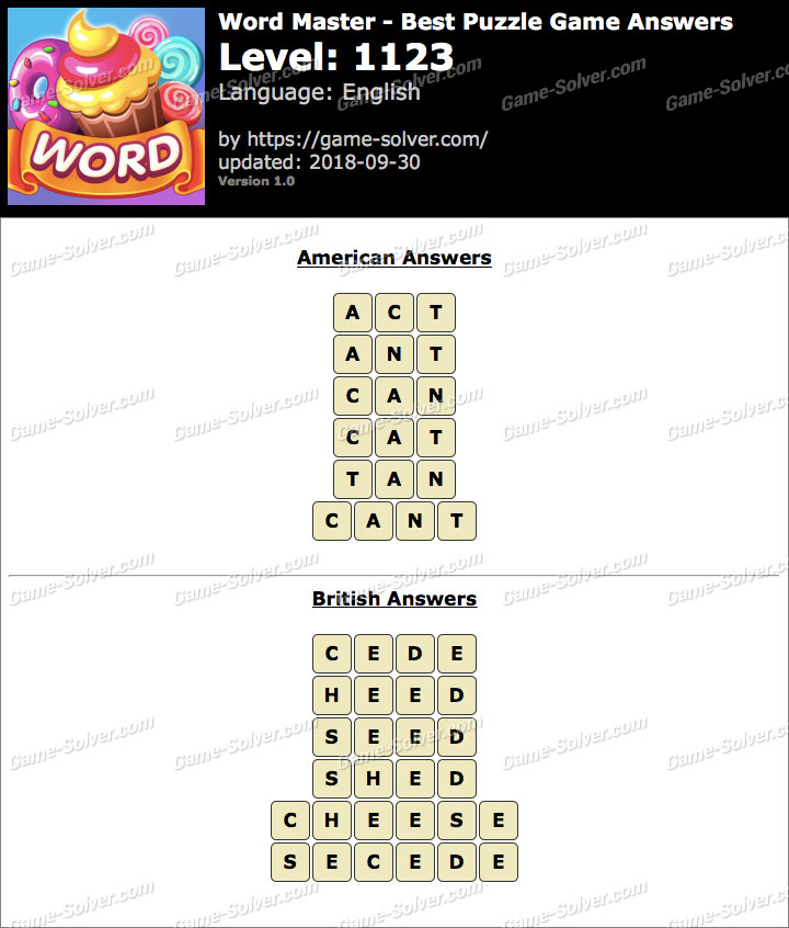Word Master-Best Puzzle Game Level 1123 Answers