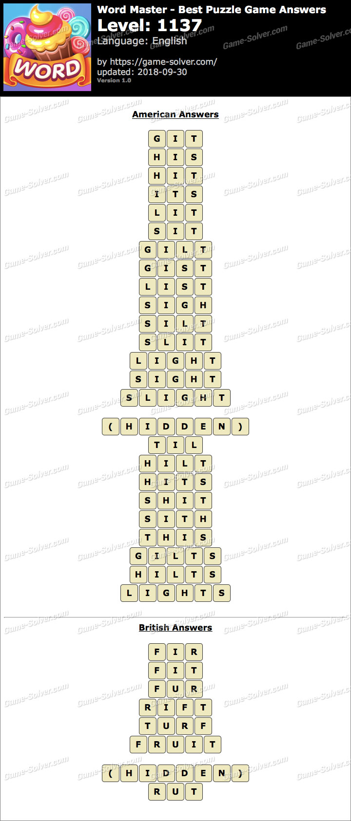 Word Master-Best Puzzle Game Level 1137 Answers