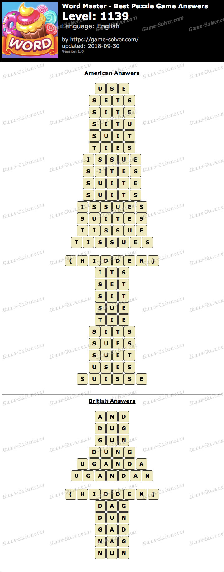 Word Master-Best Puzzle Game Level 1139 Answers