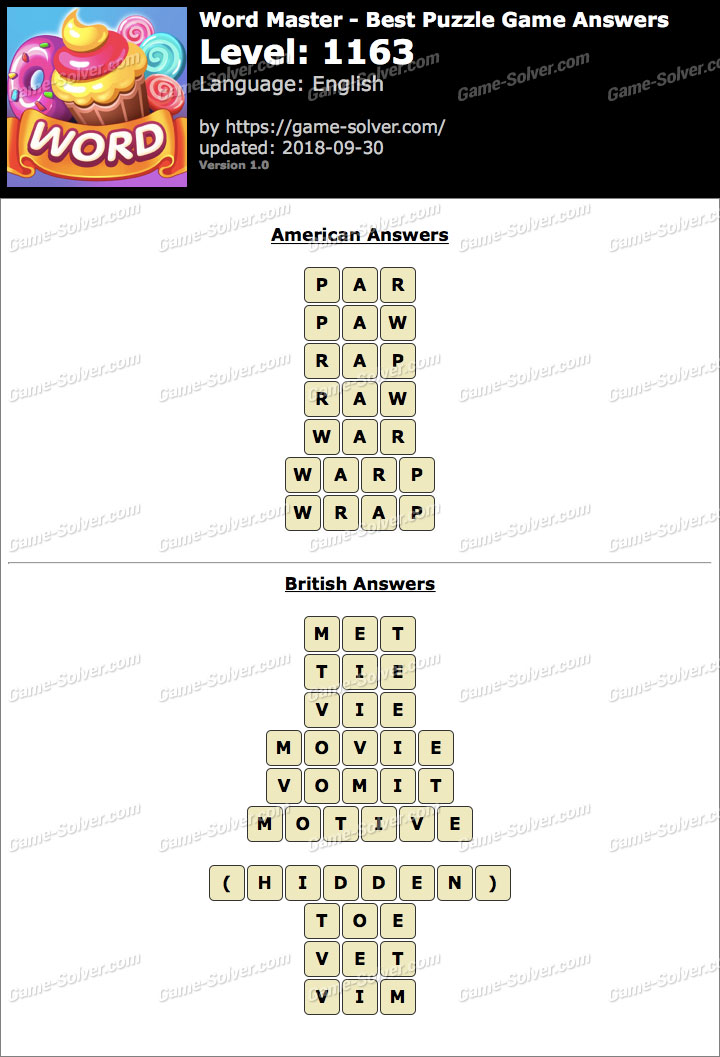 Word Master-Best Puzzle Game Level 1163 Answers