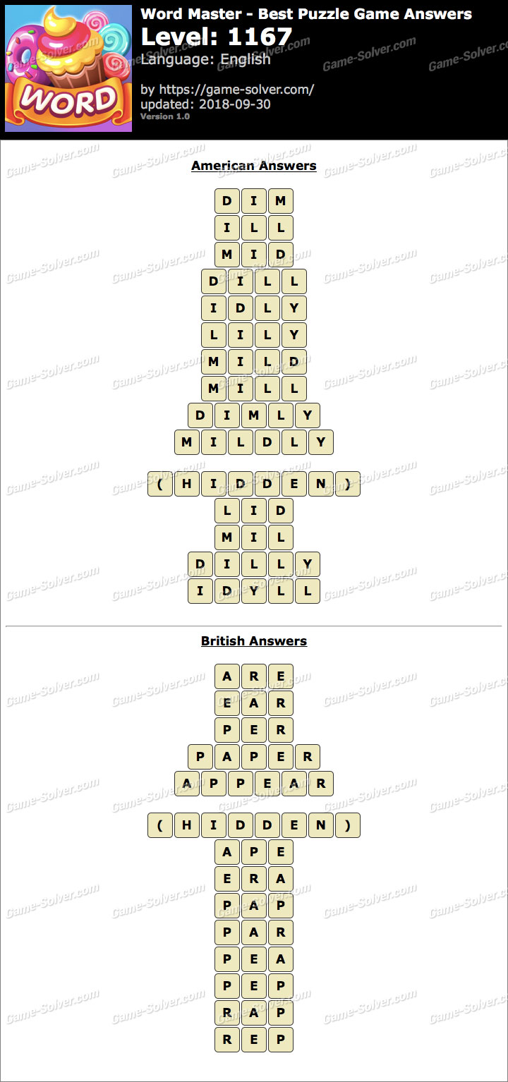 Word Master-Best Puzzle Game Level 1167 Answers