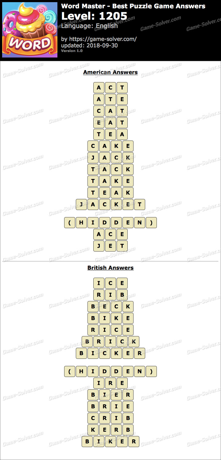 Word Master-Best Puzzle Game Level 1205 Answers