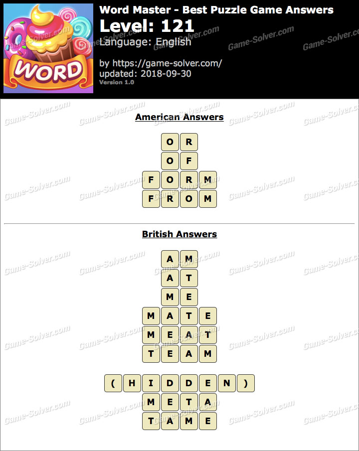 Word Master-Best Puzzle Game Level 121 Answers