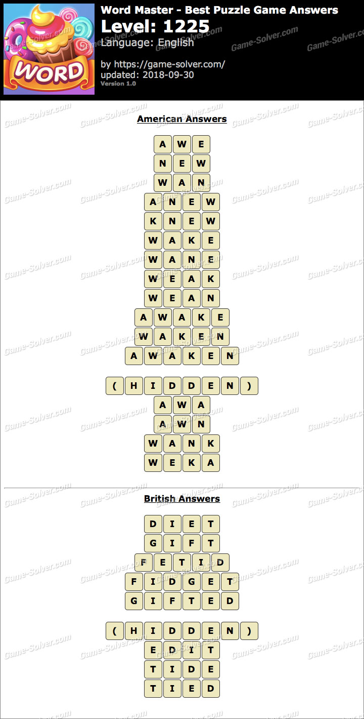 Word Master-Best Puzzle Game Level 1225 Answers