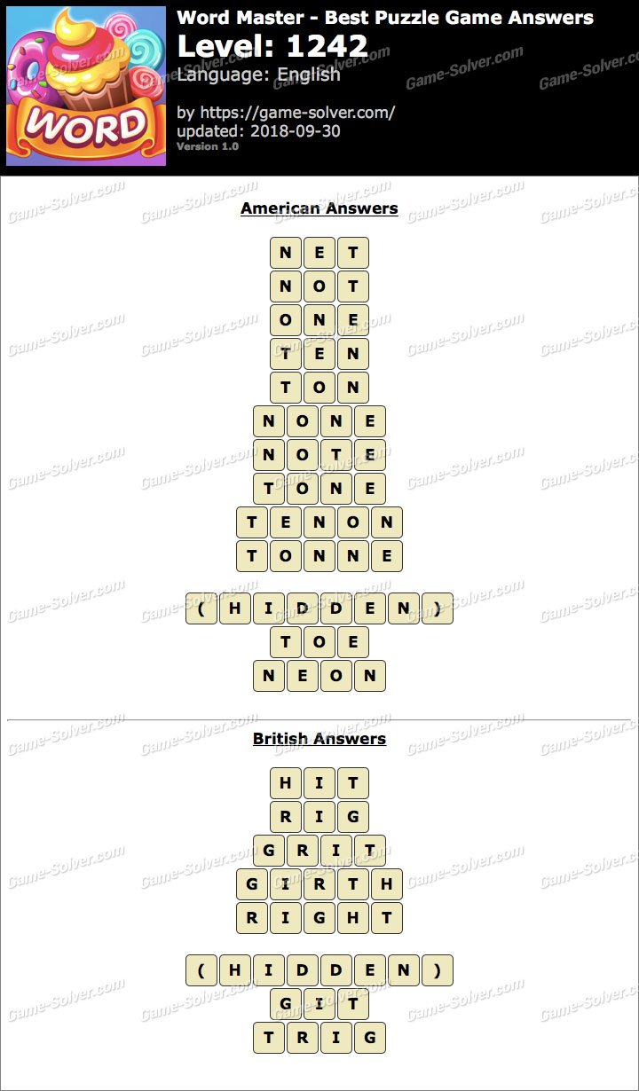 Word Master-Best Puzzle Game Level 1242 Answers