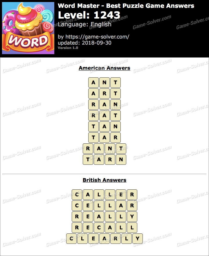 Word Master-Best Puzzle Game Level 1243 Answers
