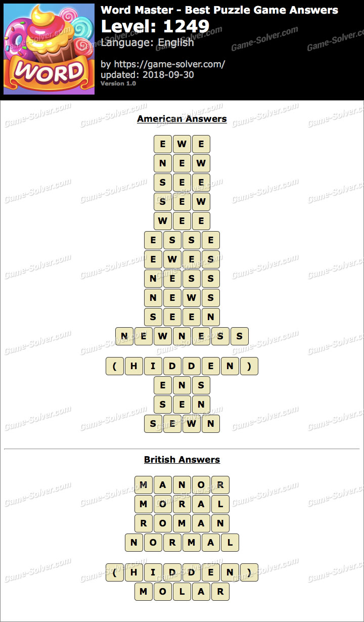 Word Master-Best Puzzle Game Level 1249 Answers
