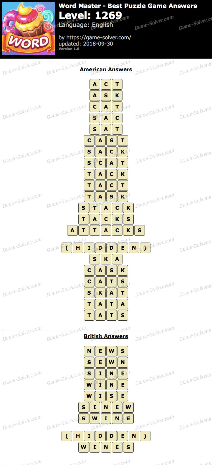 Word Master-Best Puzzle Game Level 1269 Answers