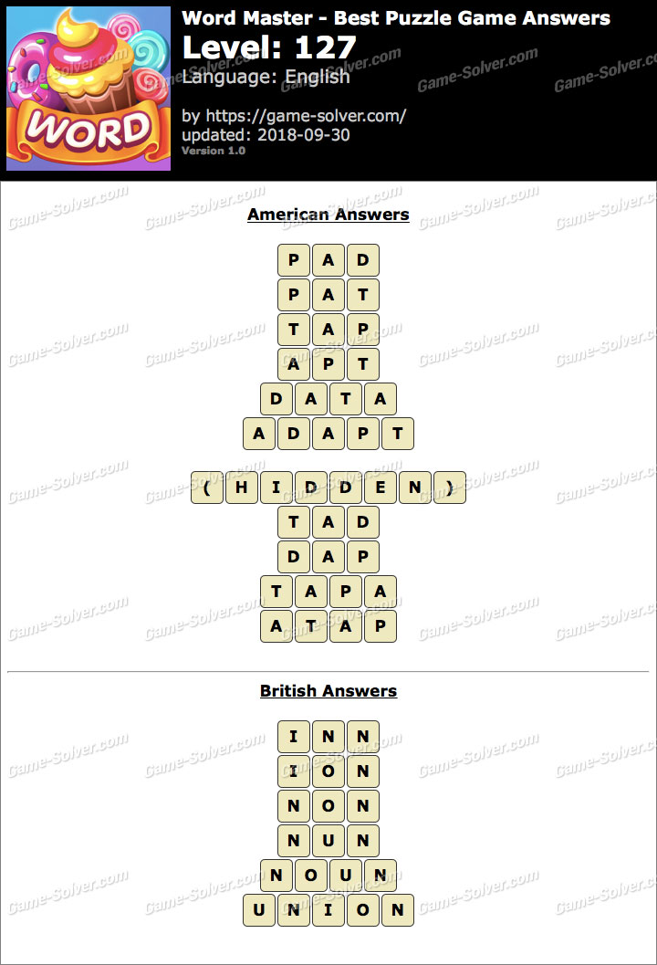 Word Master-Best Puzzle Game Level 127 Answers