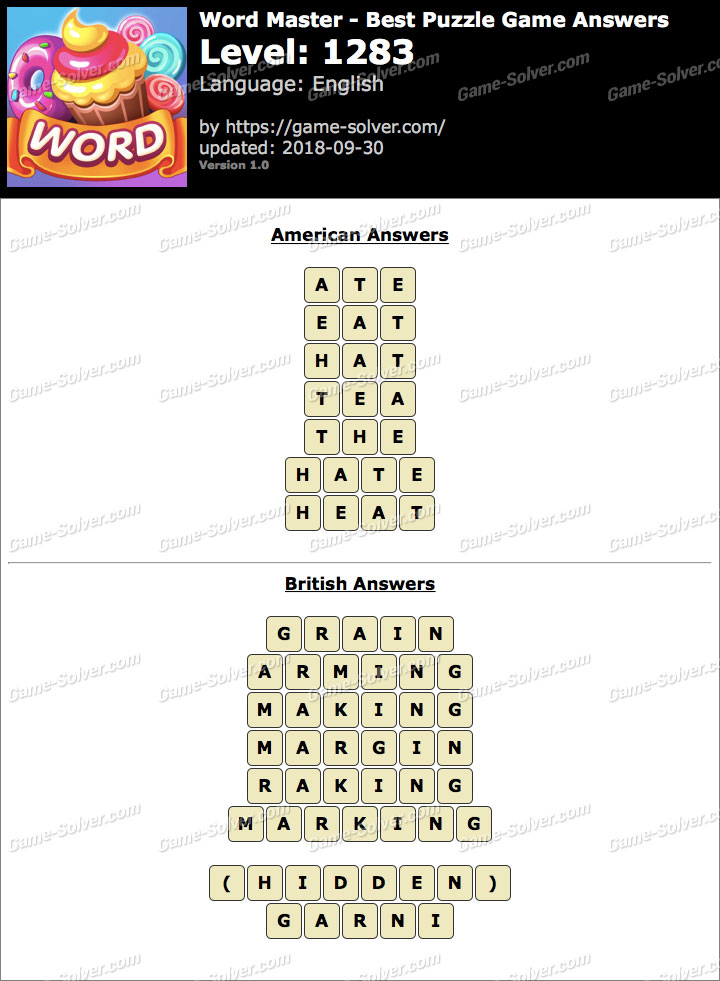 Word Master-Best Puzzle Game Level 1283 Answers