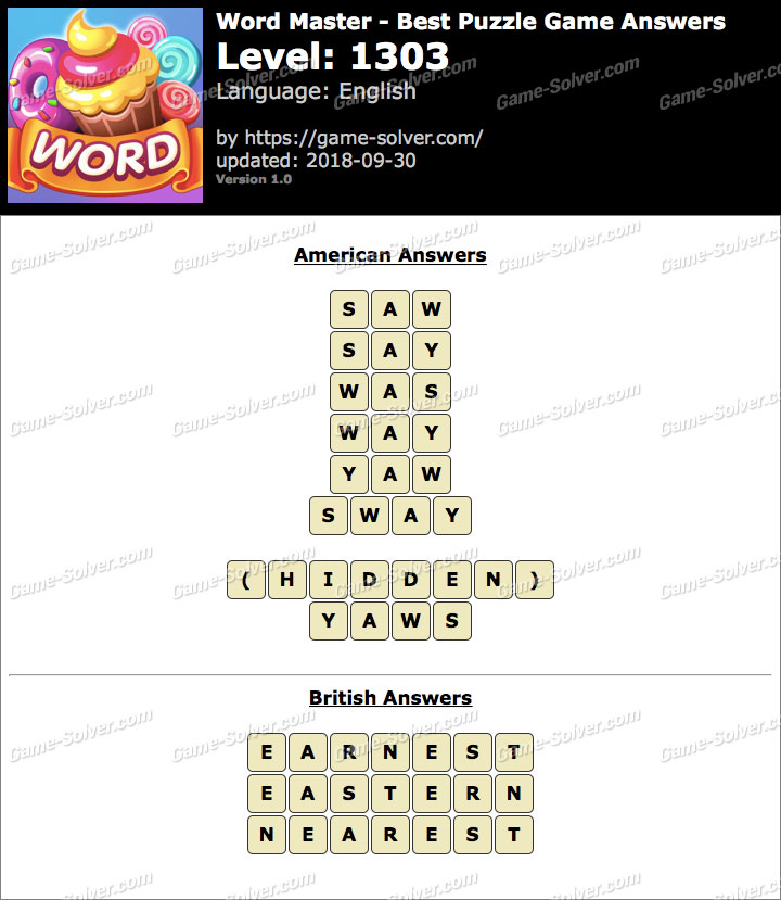 Word Master-Best Puzzle Game Level 1303 Answers