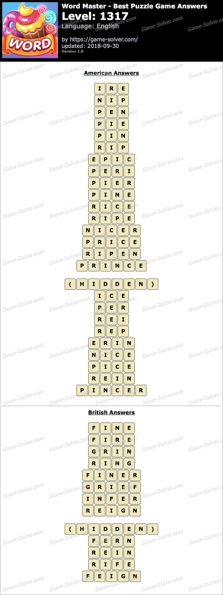 Word Master-Best Puzzle Game Level 1317 Answers