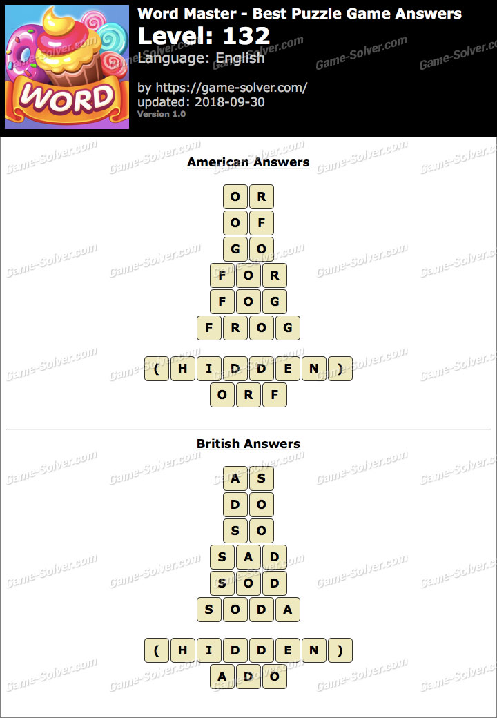 Word Master-Best Puzzle Game Level 132 Answers