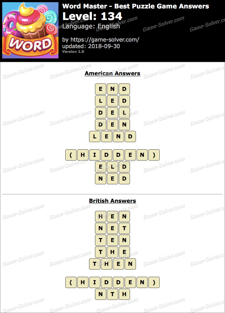 Word Master-Best Puzzle Game Level 134 Answers