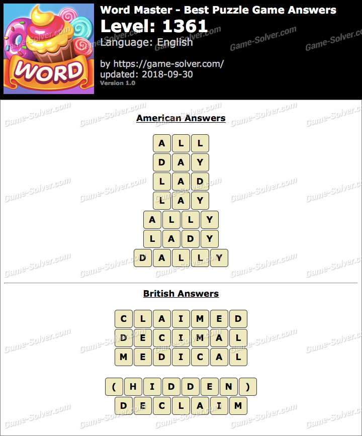 Word Master-Best Puzzle Game Level 1361 Answers