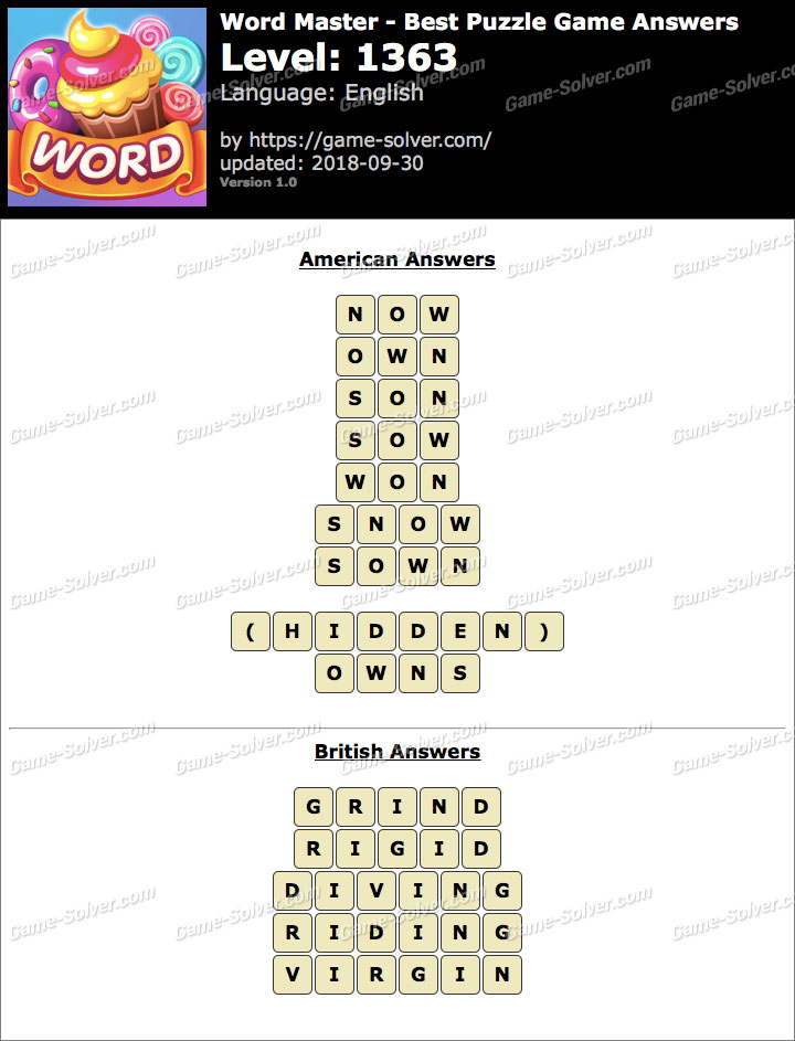 Word Master-Best Puzzle Game Level 1363 Answers