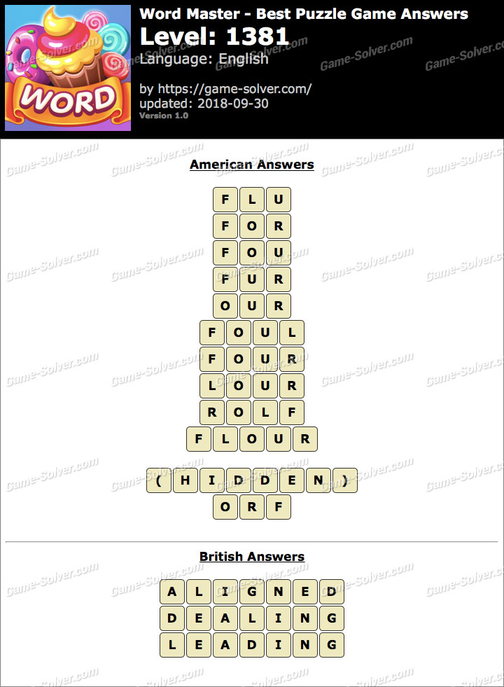 Word Master-Best Puzzle Game Level 1381 Answers