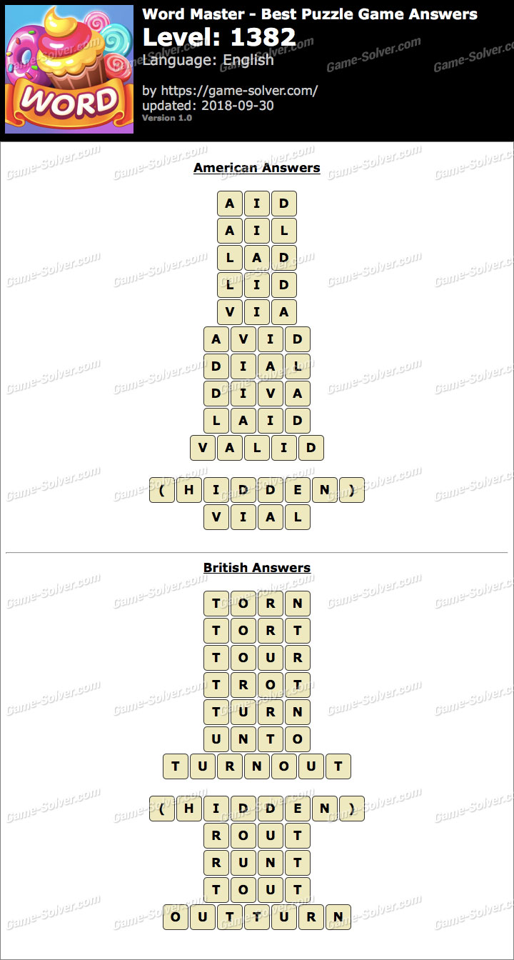 Word Master-Best Puzzle Game Level 1382 Answers