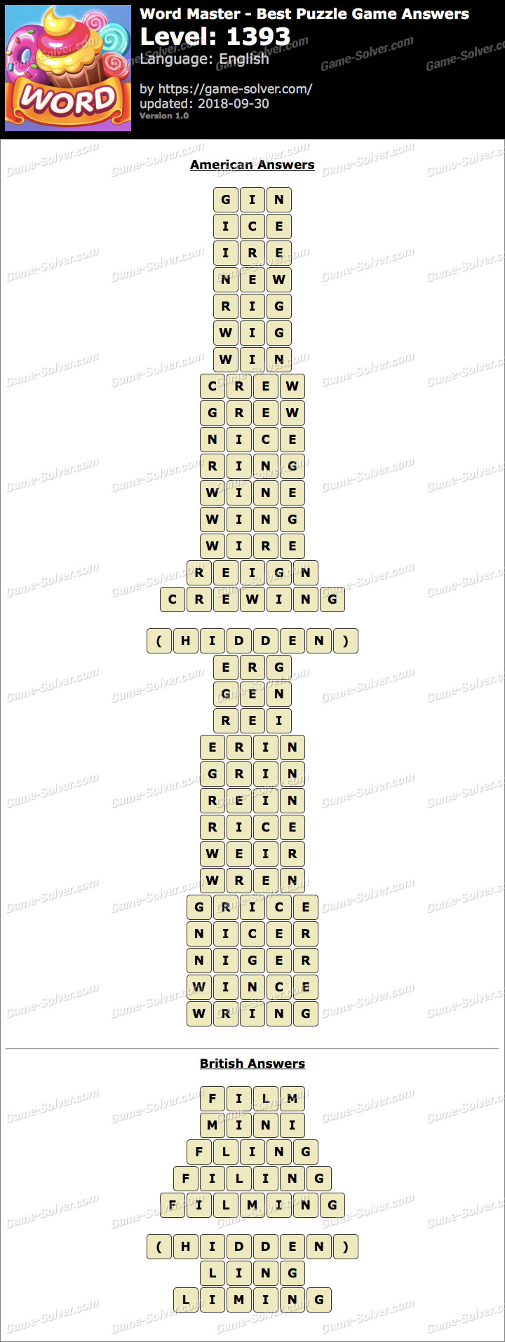 Word Master-Best Puzzle Game Level 1393 Answers