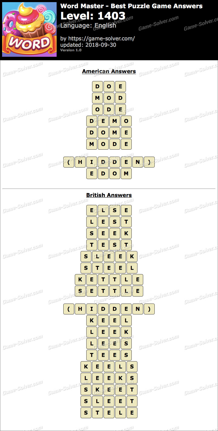 Word Master-Best Puzzle Game Level 1403 Answers