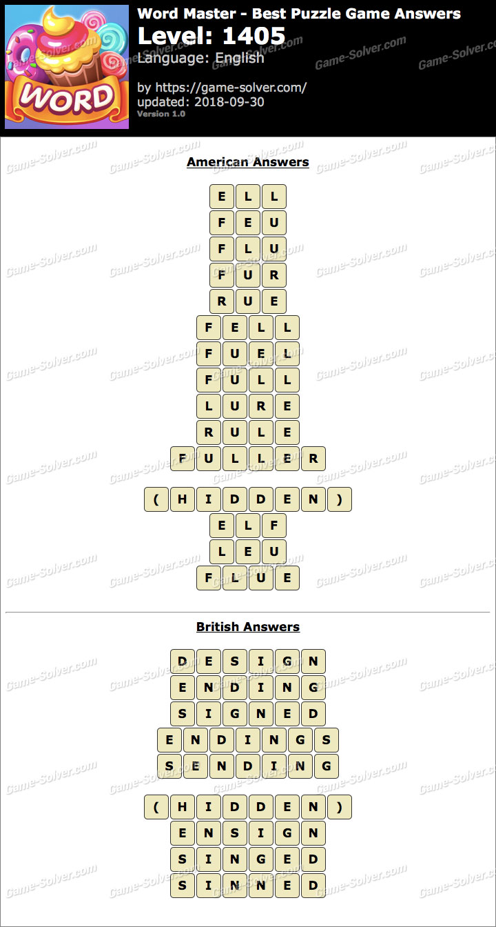 Word Master-Best Puzzle Game Level 1405 Answers