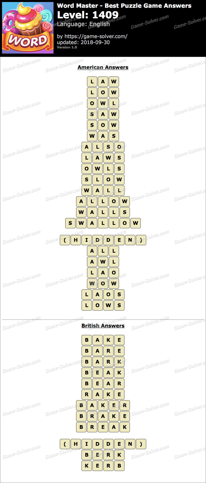Word Master-Best Puzzle Game Level 1409 Answers